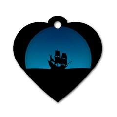 Ship Night Sailing Water Sea Sky Dog Tag Heart (one Side)