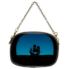 Ship Night Sailing Water Sea Sky Chain Purses (two Sides)