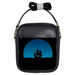 Ship Night Sailing Water Sea Sky Girls Sling Bags
