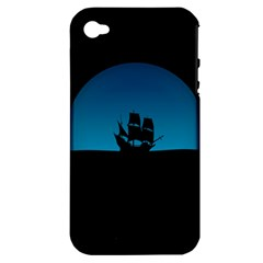 Ship Night Sailing Water Sea Sky Apple Iphone 4/4s Hardshell Case (pc+silicone) by Nexatart