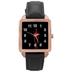 Ship Space Spaceship Rose Gold Leather Watch