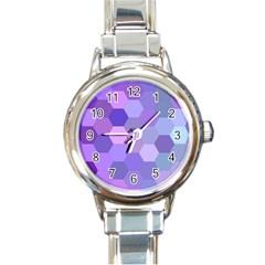 Purple Hexagon Background Cell Round Italian Charm Watch by Nexatart
