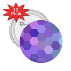 Purple Hexagon Background Cell 2 25  Buttons (10 Pack)  by Nexatart