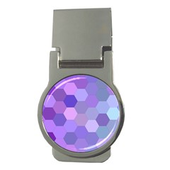 Purple Hexagon Background Cell Money Clips (round)  by Nexatart