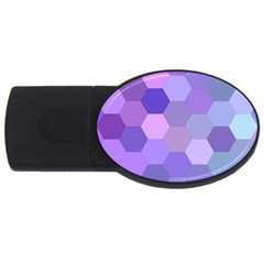 Purple Hexagon Background Cell Usb Flash Drive Oval (2 Gb)