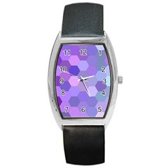 Purple Hexagon Background Cell Barrel Style Metal Watch