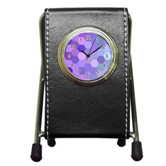 Purple Hexagon Background Cell Pen Holder Desk Clocks by Nexatart