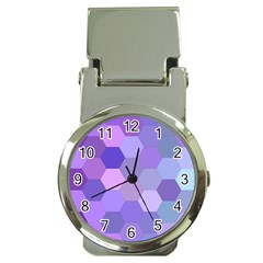 Purple Hexagon Background Cell Money Clip Watches