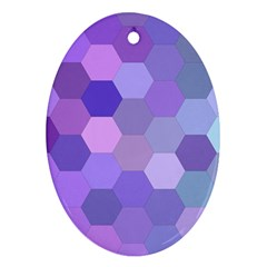 Purple Hexagon Background Cell Oval Ornament (two Sides)