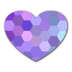 Purple Hexagon Background Cell Heart Mousepads