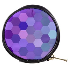 Purple Hexagon Background Cell Mini Makeup Bags