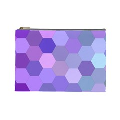 Purple Hexagon Background Cell Cosmetic Bag (large)