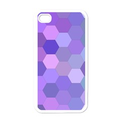 Purple Hexagon Background Cell Apple Iphone 4 Case (white)