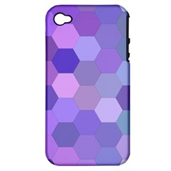 Purple Hexagon Background Cell Apple Iphone 4/4s Hardshell Case (pc+silicone) by Nexatart