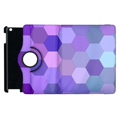 Purple Hexagon Background Cell Apple Ipad 3/4 Flip 360 Case by Nexatart