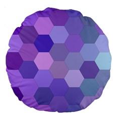 Purple Hexagon Background Cell Large 18  Premium Round Cushions