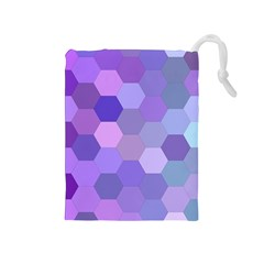 Purple Hexagon Background Cell Drawstring Pouches (medium)