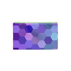 Purple Hexagon Background Cell Cosmetic Bag (xs) by Nexatart