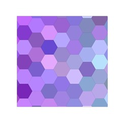 Purple Hexagon Background Cell Small Satin Scarf (square)