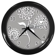 Flower Heart Plant Symbol Love Wall Clocks (black)
