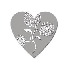 Flower Heart Plant Symbol Love Heart Magnet by Nexatart