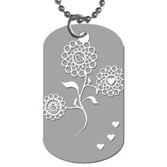 Flower Heart Plant Symbol Love Dog Tag (one Side)