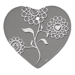 Flower Heart Plant Symbol Love Heart Ornament (two Sides) by Nexatart
