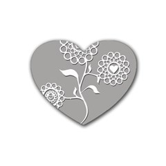 Flower Heart Plant Symbol Love Heart Coaster (4 Pack)