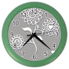 Flower Heart Plant Symbol Love Color Wall Clocks by Nexatart
