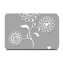 Flower Heart Plant Symbol Love Small Doormat  by Nexatart