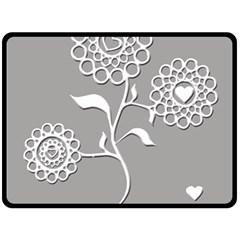 Flower Heart Plant Symbol Love Fleece Blanket (large)