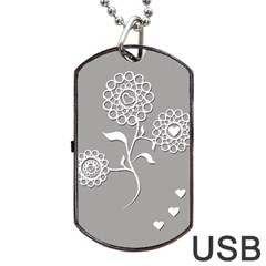 Flower Heart Plant Symbol Love Dog Tag Usb Flash (one Side)