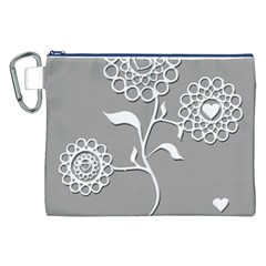 Flower Heart Plant Symbol Love Canvas Cosmetic Bag (xxl) by Nexatart