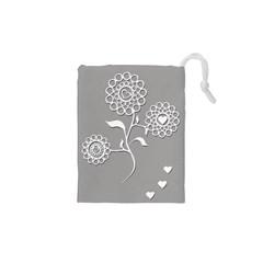 Flower Heart Plant Symbol Love Drawstring Pouches (xs)