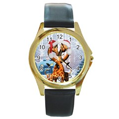 Christmas, Giraffe In Love With Christmas Hat Round Gold Metal Watch by FantasyWorld7