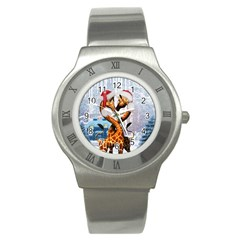 Christmas, Giraffe In Love With Christmas Hat Stainless Steel Watch by FantasyWorld7