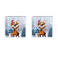 Christmas, Giraffe In Love With Christmas Hat Cufflinks (square) by FantasyWorld7