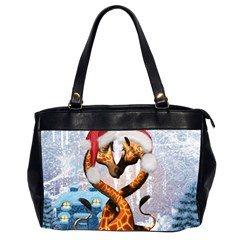Christmas, Giraffe In Love With Christmas Hat Office Handbags (2 Sides)  by FantasyWorld7