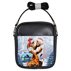 Christmas, Giraffe In Love With Christmas Hat Girls Sling Bags by FantasyWorld7