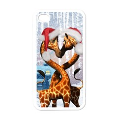 Christmas, Giraffe In Love With Christmas Hat Apple Iphone 4 Case (white) by FantasyWorld7