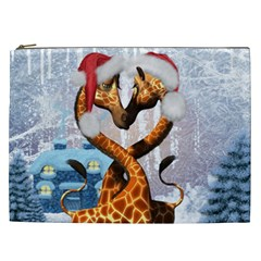 Christmas, Giraffe In Love With Christmas Hat Cosmetic Bag (xxl)  by FantasyWorld7