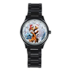 Christmas, Giraffe In Love With Christmas Hat Stainless Steel Round Watch by FantasyWorld7