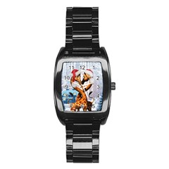 Christmas, Giraffe In Love With Christmas Hat Stainless Steel Barrel Watch by FantasyWorld7
