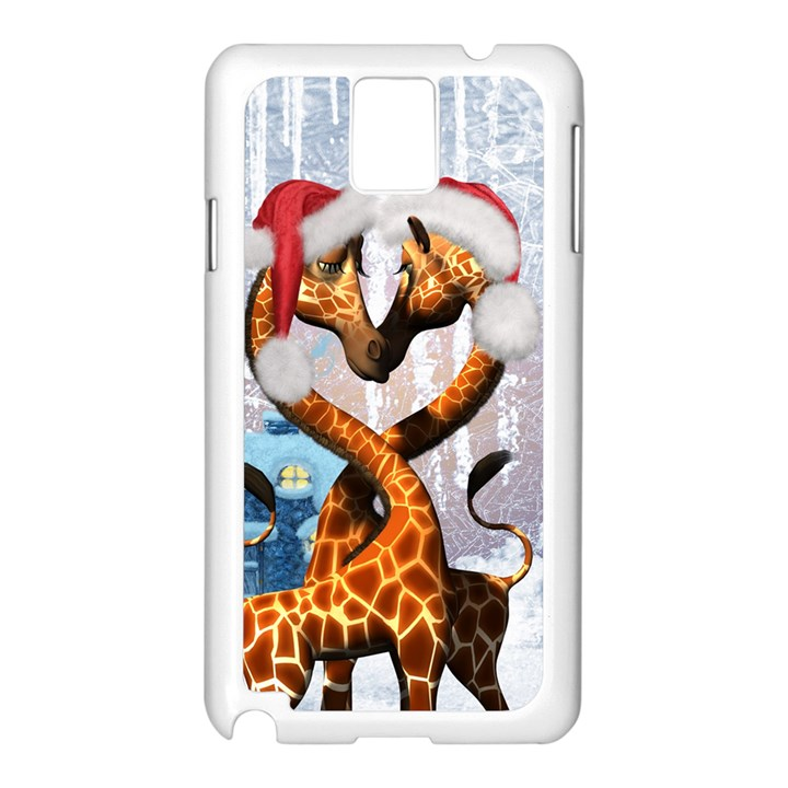 Christmas, Giraffe In Love With Christmas Hat Samsung Galaxy Note 3 N9005 Case (White)
