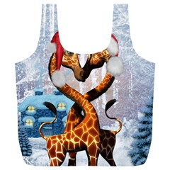 Christmas, Giraffe In Love With Christmas Hat Full Print Recycle Bags (l)  by FantasyWorld7