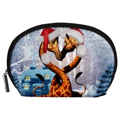Christmas, Giraffe In Love With Christmas Hat Accessory Pouches (large)  by FantasyWorld7