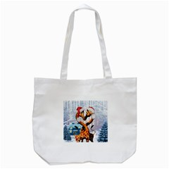 Christmas, Giraffe In Love With Christmas Hat Tote Bag (white) by FantasyWorld7