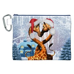 Christmas, Giraffe In Love With Christmas Hat Canvas Cosmetic Bag (xxl) by FantasyWorld7
