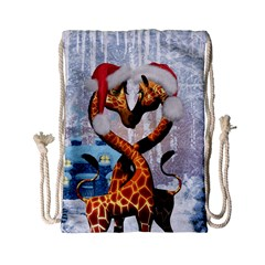Christmas, Giraffe In Love With Christmas Hat Drawstring Bag (small) by FantasyWorld7