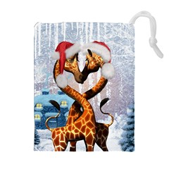 Christmas, Giraffe In Love With Christmas Hat Drawstring Pouches (extra Large) by FantasyWorld7